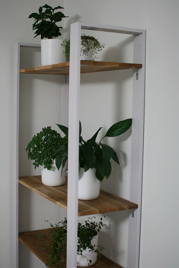 wooden plant shelf